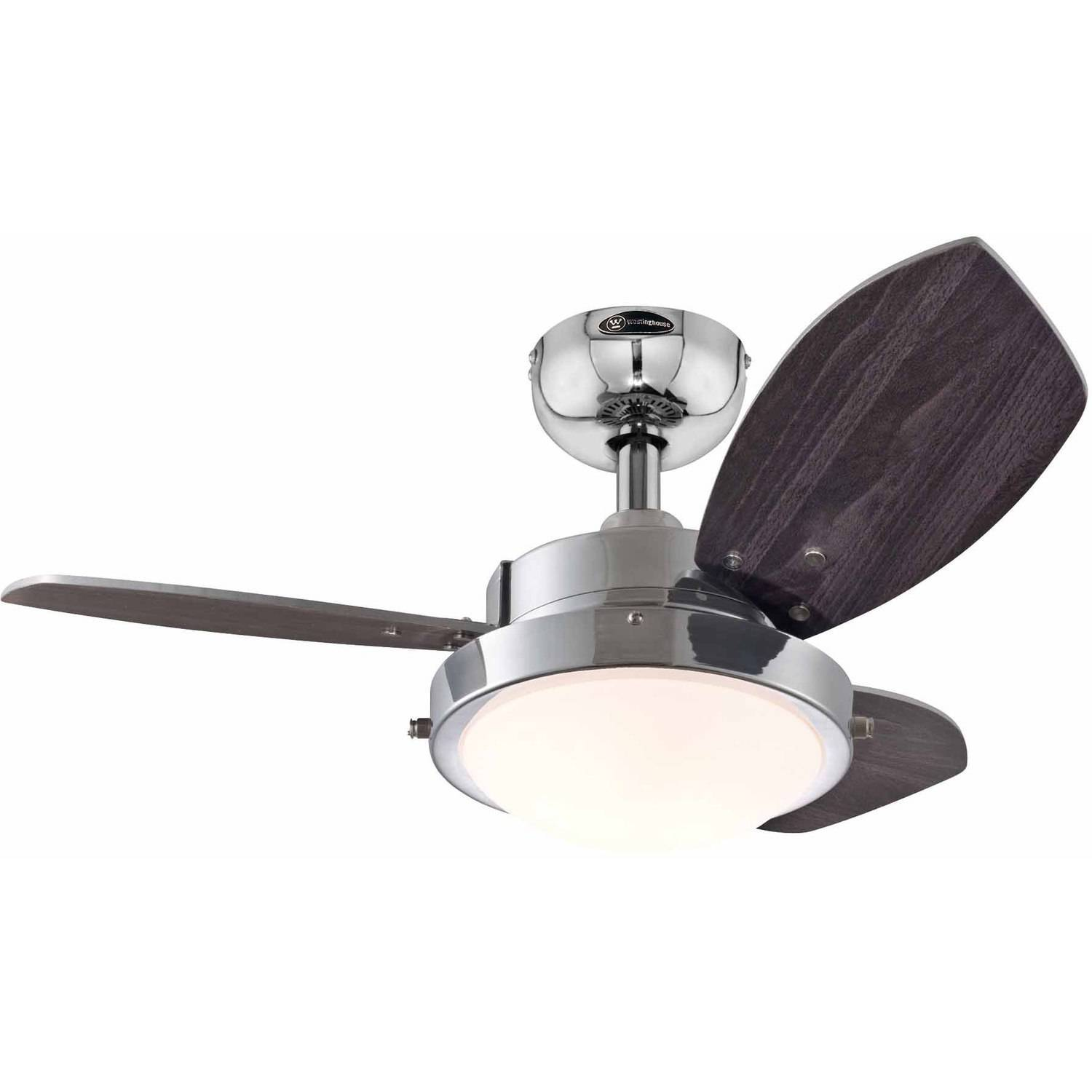 "Westinghouse 7876300 30"" Chrome 3-Blade Reversible Ceiling Fan with Light"