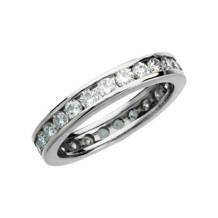 14k White Gold 1 1/5 Ct Diamond Anniversary Wedding Eternity Band - Size 4