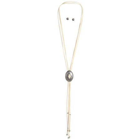 M F Western Products Womens  MF Cream Bolo Style Necklace