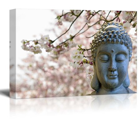 wall26 Buddha Statue on a Cherry Blossom Garden - Canvas Art Home Decor - 32x48