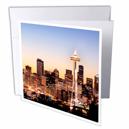 3dRose Seattle skyline, Christmas holiday - US48 RDU0063 - Richard Duval, Greeting Cards, 6 x 6 inches, set of 6 Skyline Christmas Card