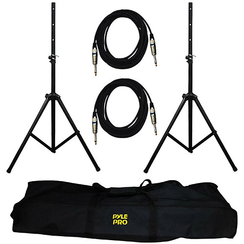 Heavy-Duty Pro Audio Speaker Stand & 1/4'' Cable Kit