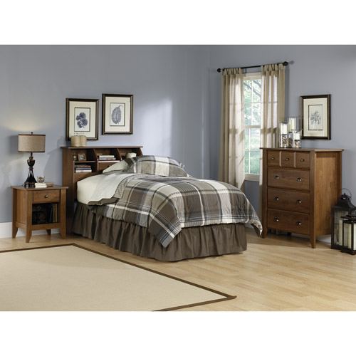 Sauder Shoal Creek 3 Piece Twin Bedroom Set, Oiled Oak