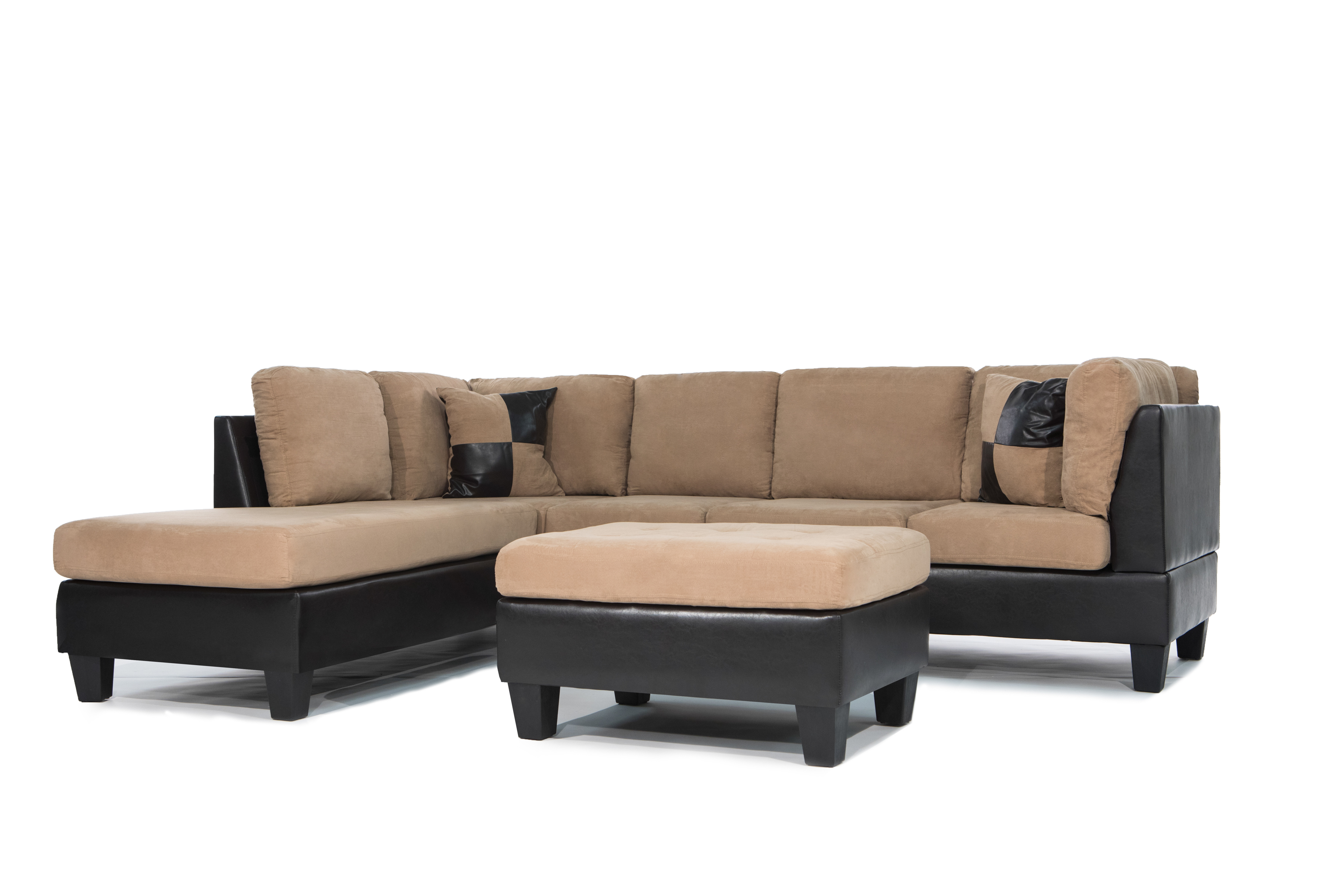 Modern leather sectional sofas Trendy Piece Modern Soft Reversible Microfiber And Faux Leather Sectional Sofa With Ottoman Walmartcom Walmart Piece Modern Soft Reversible Microfiber And Faux Leather Sectional