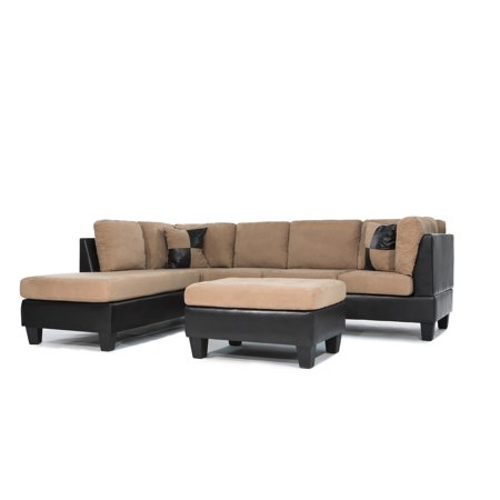 3 Piece Modern Soft Reversible Microfiber and Faux Leather Sectional Sofa  with Ottoman
