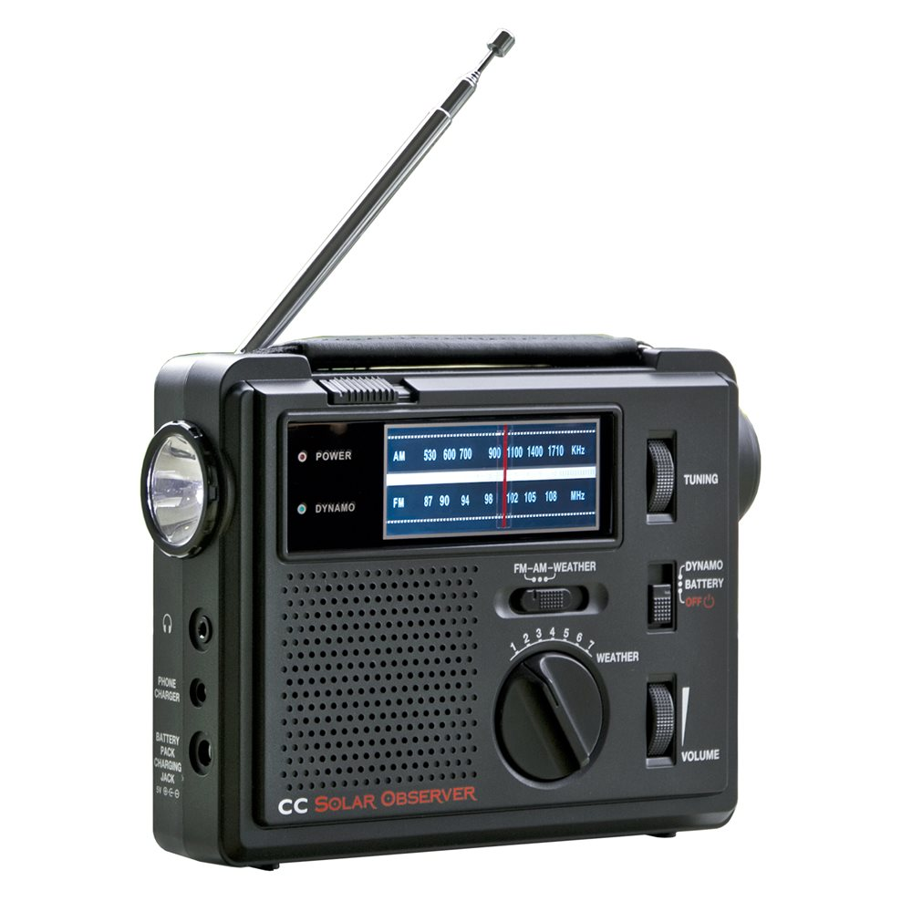 C. Crane CC Solar Observer AM, FM, and NOAA Weather Windup Emergency Radio with Built-In LED Flashlight by C. Crane