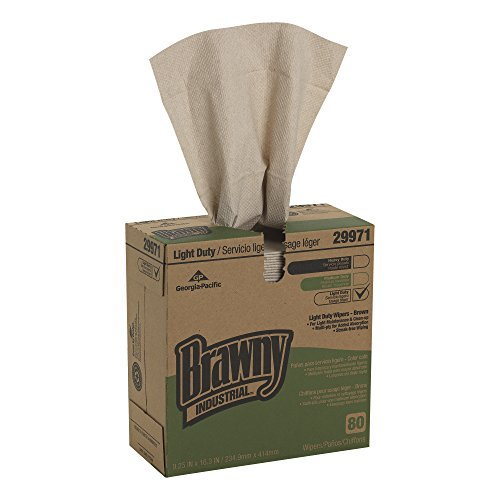 Georgia Pacific GPC299-71 Brawny Industrial Light Duty Three-ply Paper Wipers, 9-1/4x16-3/4, Brown, 80/box