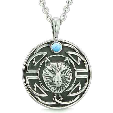 Amulet Courage Wisdom Wolf and Ancient Viking Celtic Knot Simulated Turquoise Pendant 18 Inch Necklace - Wolf Pendant