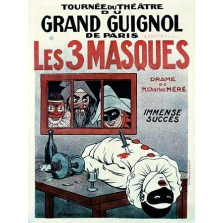 Theatre de Grand Guignol  Les 3 Masques Poster Print by  Adrien Barrere](Musique De Halloween Film)