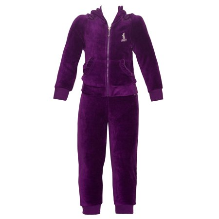 Minion Outfit For Kids (Juicy Couture Little Girls Plum Kangaroo Pocket Hooded 2 Pc Pant)