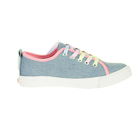 Girl's Denim Lace Up Sneakers With Bow