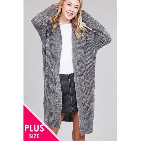 Dolman Sleeve w/ Patch Pocket Marled Sweater Cardigan (Plus Size) Blend Dolman Sleeve Sweater