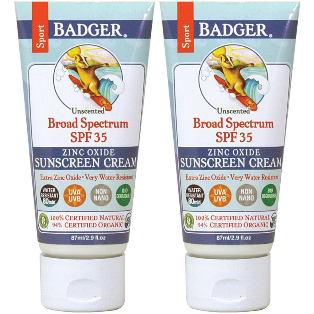 2 Pack Badger Broad Spectrum SPF 35 Sport Sunscreen Cream - 2.9 Ounces