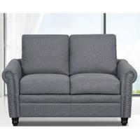Dove Linen Upholstered Modern Loveseat