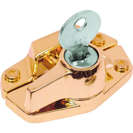 U 9927 Window Sash Lock, Keyed, Heavy Duty Diecast, Brass Plated, For aluminum, vinyl or wood double hung windows By Prime-Line