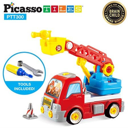 PicassoTiles DIY Construction Fire Truck Toy Car Set Dismantling Take-A-Part Toys Building Kit w/ Extendable 360 Rotating Ladder Safe Child-Size Large Parts, Reversible Screw Driver Nuts Bolts PTT300 (Day Cab Kits)