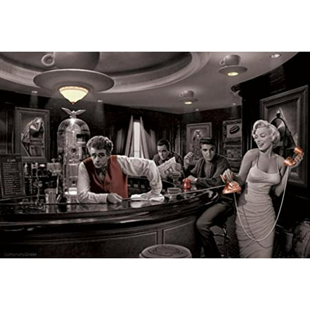 Java Dreams with James Dean Marilyn Monroe Elvis Presley and Humphrey Bogart by Chris Consani 36x24 Art Print Poster   Celebrity Movie Stars At Coffee Bar Icons Hollywood by Scorpio Posters