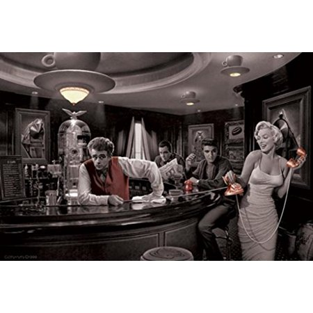 Java Dreams with James Dean Marilyn Monroe Elvis Presley and Humphrey Bogart by Chris Consani 36x24 Art Print Poster   Celebrity Movie Stars At Coffee Bar Icons Hollywood by -