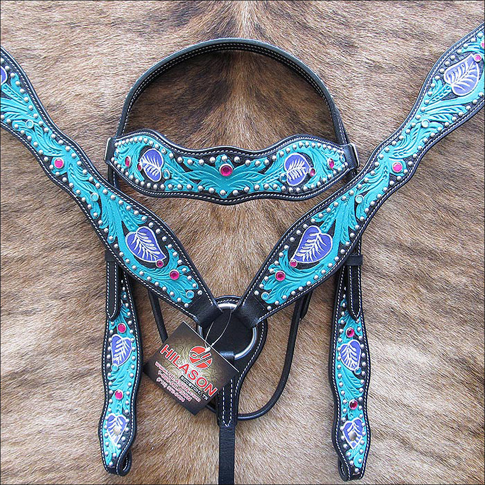 WESTERN AMERICAN LEATHER HAND TOOLED HAND PAINTED HORSE HEADSTALL BREAST COLLAR