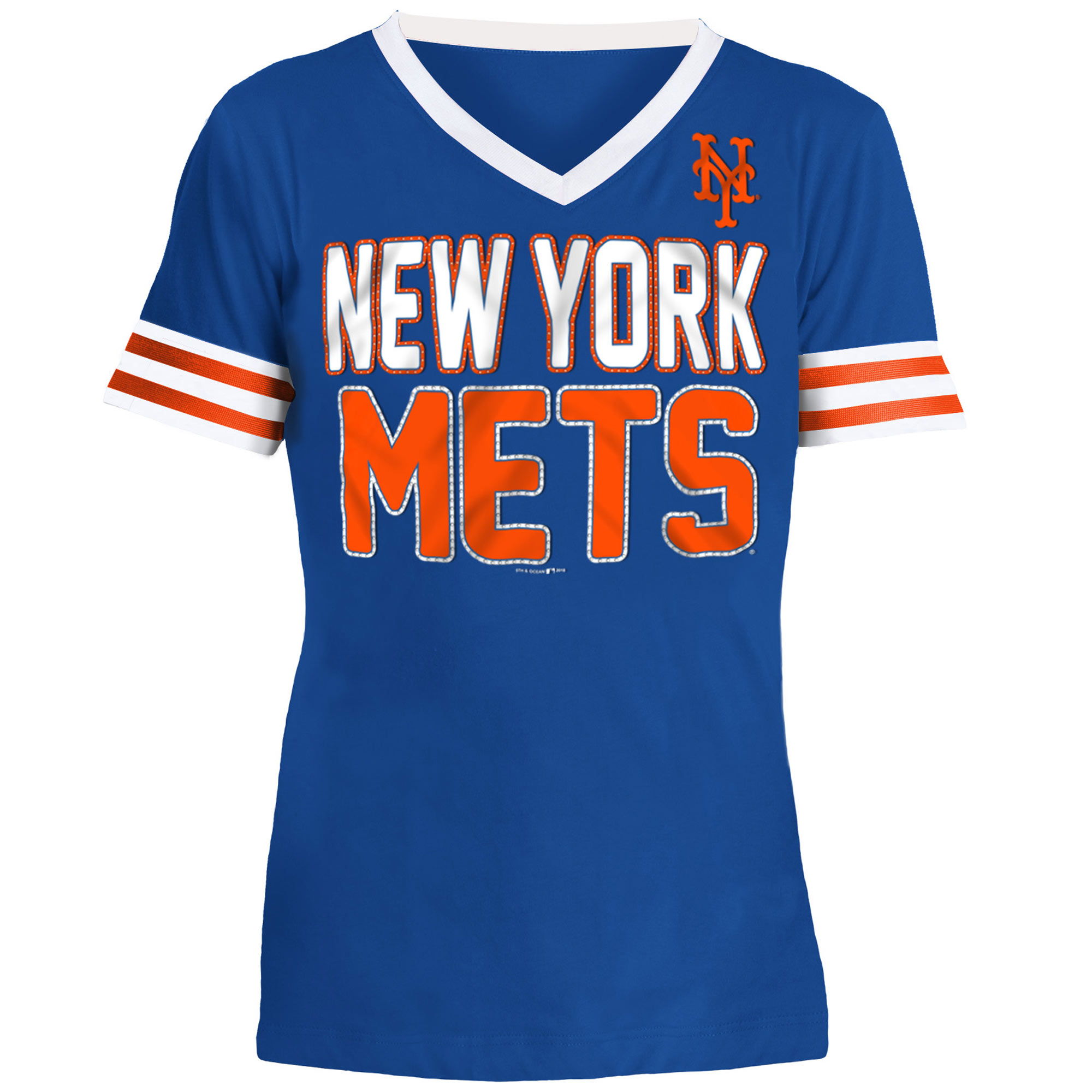 New York Mets 5th & Ocean by New Era Youth Jersey T-Shirt with Contrast Trim - Royal