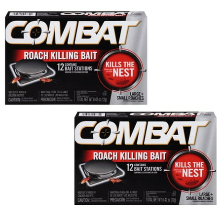 (2 pack) Combat Roach Killing Bait Stations for Small & Large Roaches, 12