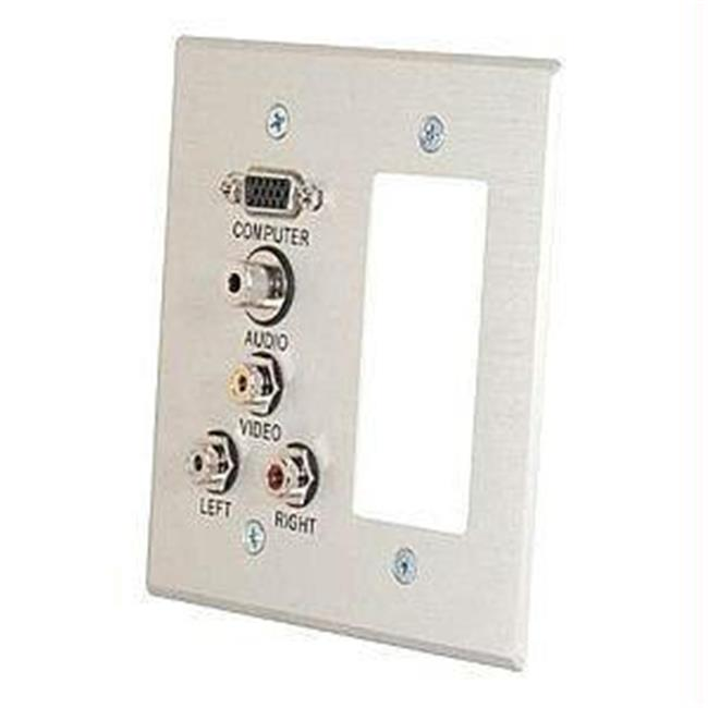 C2G 41027 DOUBLE GANG HD15 PLUS 3. 5MM PLUS RCA AUDIO-VIDEO PLUS DECORA-STYLE CUT-OUT WALL PLATE - B
