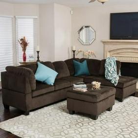 Awe Inspiring 2 Piece Modern Reversible Grey Tufted Microfiber Sectional Sofa With Ottoman Machost Co Dining Chair Design Ideas Machostcouk