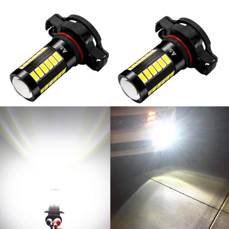 Alla Lighting 2800lm PSX24W 12276 2504 LED Fog Lights Bulb Xtreme Super Bright 5730-33 LED Replacement for Cars, Trucks, 6000K Xenon White (Set of 2)