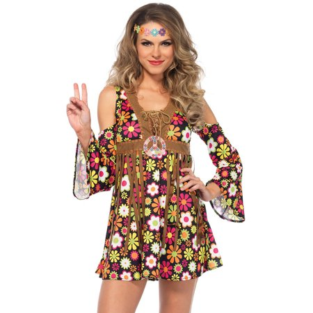 70 S Makeup (Leg Avenue Adult Starflower Hippie 2-Piece)