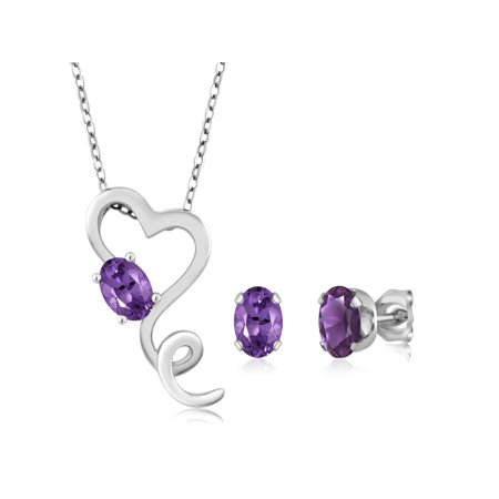 1.95 Ct Purple Amethyst Sterling Silver Heart Pendant Earrings Set W/18