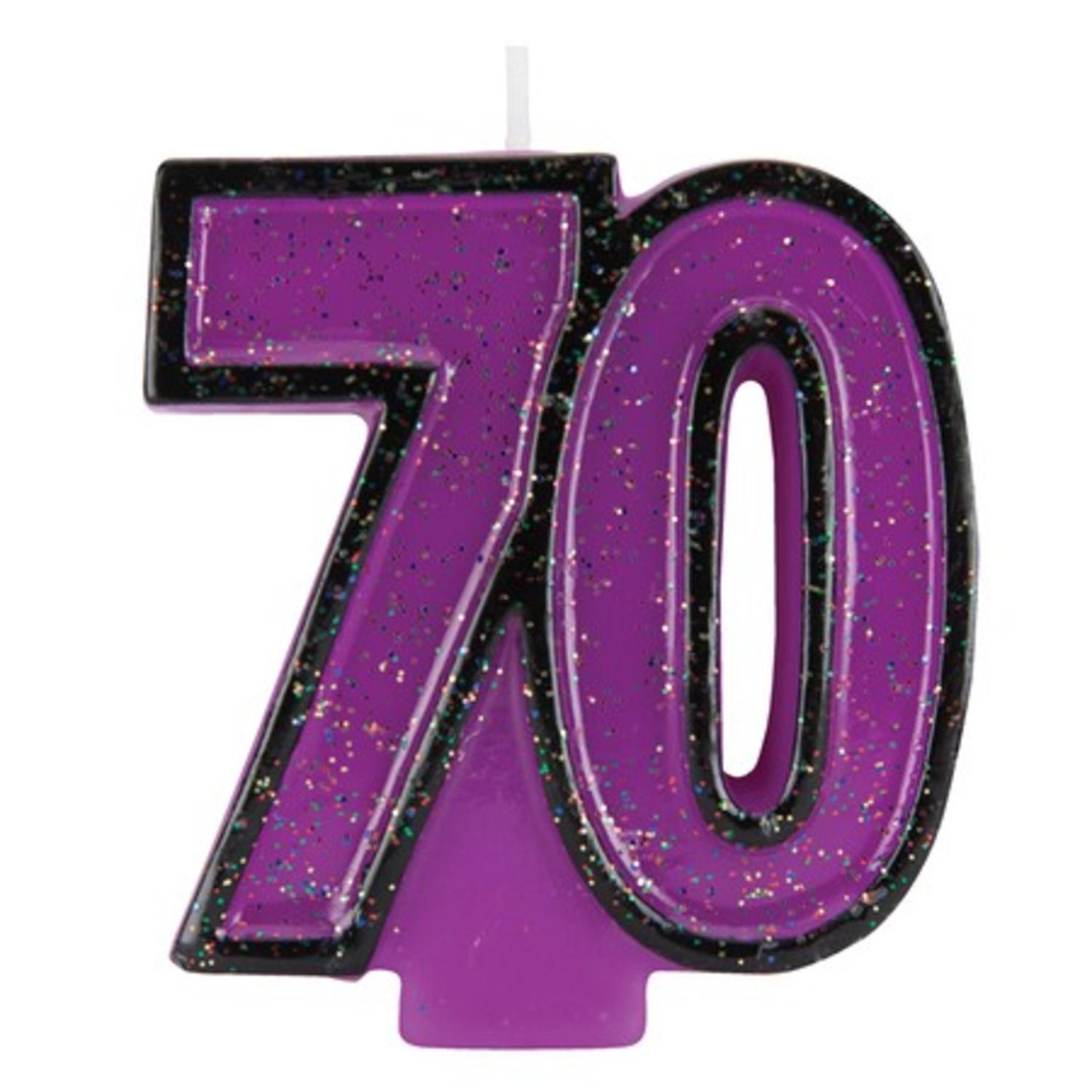 Club Pack of 12 Bold Glitter and Grape Purple Molded Numeral 50 Party Candles 3.5""