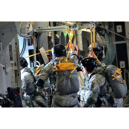 Laminated Poster Members Of The 36Th Contingency Response Group Conduct Static Line Jump Training From A C 17 Globema Poster Print 24 X 36