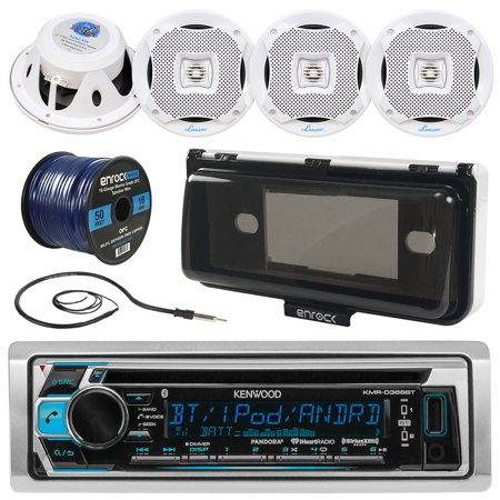 Kenwood KMRD372BT In-Dash Marine Boat Audio Bluetooth CD Player Receiver W/ Waterproof Protective Cover Bundle Combo With 4x 400W 6.5