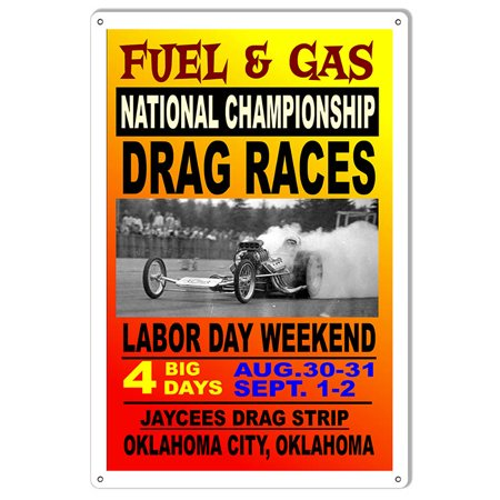 Fuel Gas National Drag Races Motor Speedway Reproduction Metal Sign    Csrg7798