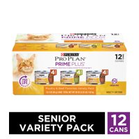 (12 Pack) Purina Pro Plan Grain Free Senior Pate Wet Cat Food Variety Pack, PRIME PLUS Poultry & Beef Favorites, 3 oz. Cans