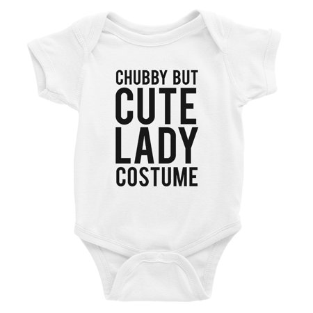 Chubby But Cute Lady Costume Baby Bodysuit Gift White - Cute Chubby Teen