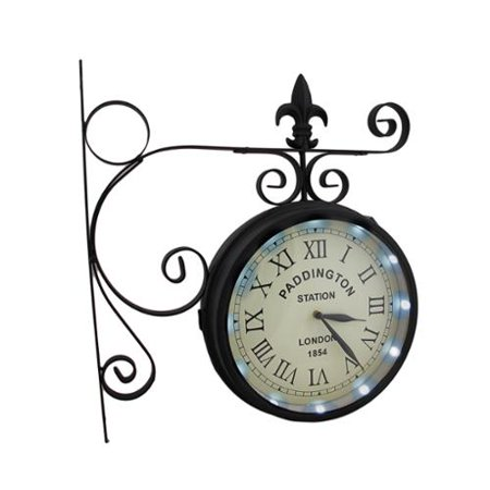 Double Sided Paddington Station Solar Powered LED Lighted Wall Clock Bicycle Double Bubble Clock