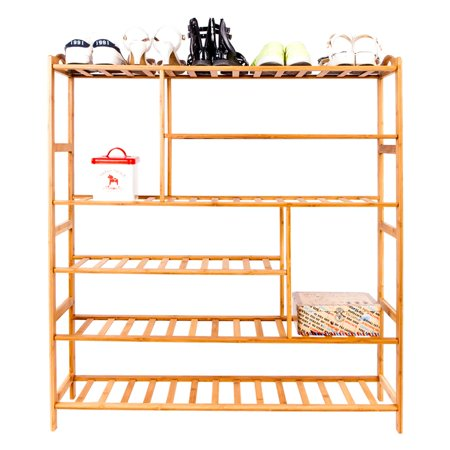 Bamboo Shoe Rack, 6-Tier Free Standing Shoe Shelf Storage Organizer Shelves for Hallway Kitchen Bathroom Patio Garden Plant Flower Pot Display Stand Indoor/Outdoor, I5870 ()