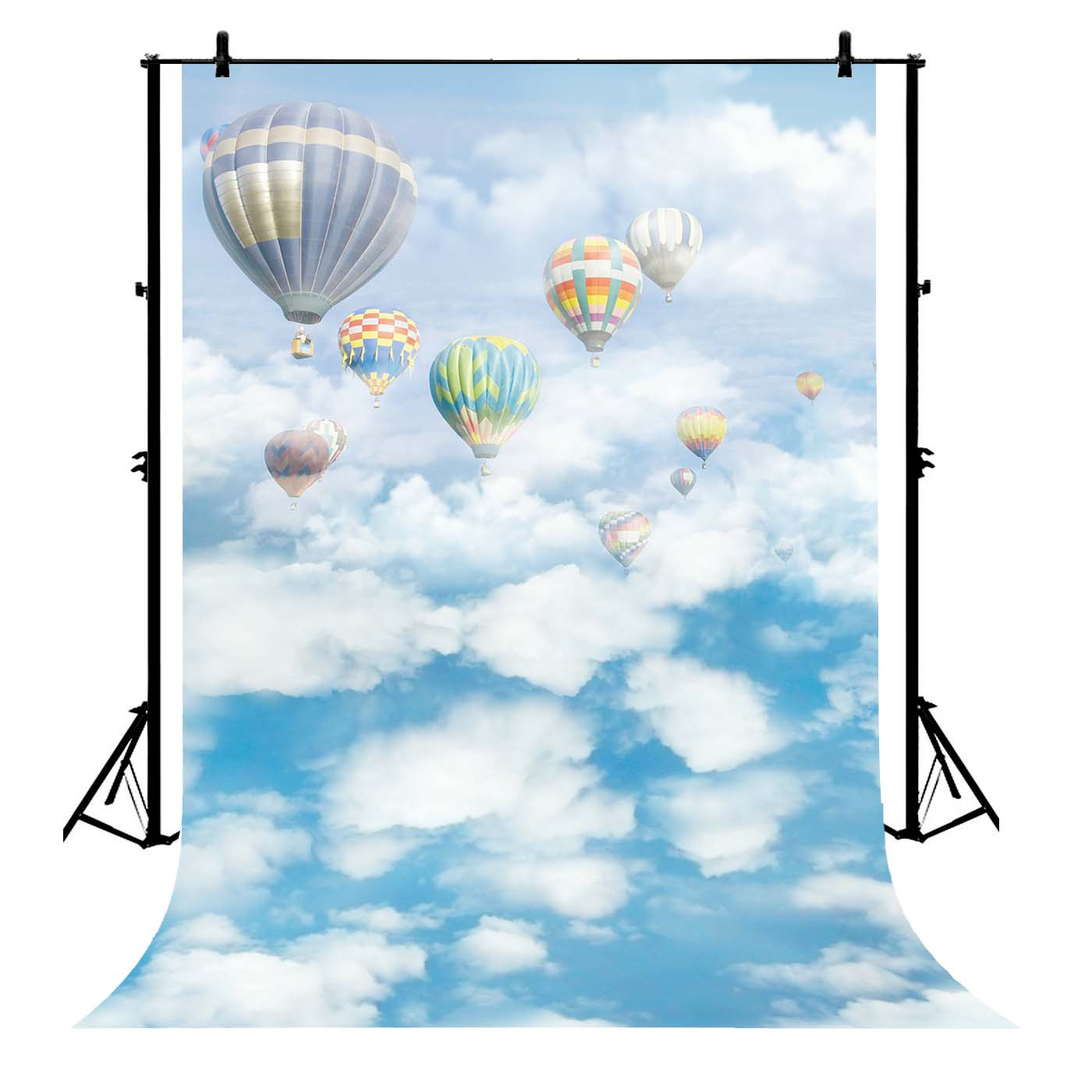 GCKG 7x5ft Hot Air Balloon on the Blue Sky White Clouds Wedding PolyesterPhotographyBackdropPhotographyPropsStudioPhotoBoothProps - image 4 de 4