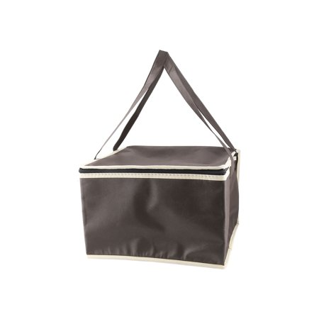 Home Kitchen Coffee Color Zippered Shoulder Strap Food Cooler Carry Tote Lunch -