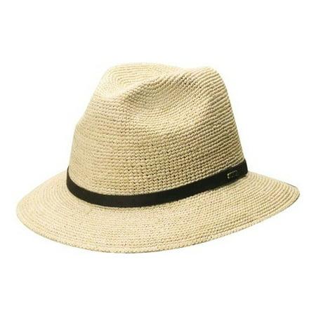 scala classico men's fine crochet raffia safari hat natural (Raffia Crochet Hat)