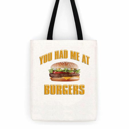 Burger Backpack (You Had Me At Burgers Cotton Canvas Tote Bag  School Day Trip)