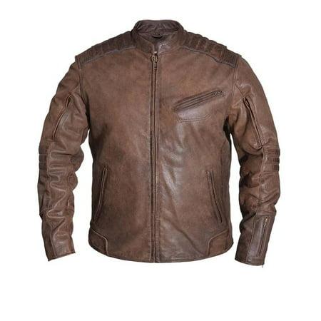 Mens Arizona Brown Premium Leather Motorcycle - Arizona White Leather