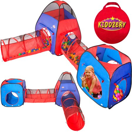 Kiddzery 4pc Kids Play tent Pop Up Ball Pit - 2 Tents + 2 Crawl Tunnels - Children Toy Tent for Boys & Girls, Toddlers & Baby, Large Playhouse For Indoor & Outdoor With Carrying Case, Great Gift Idea (Kid Toys For Girls)