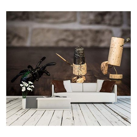 wall26 - Concept Bravery Knight with Spider, Wine Cork Figures - Removable Wall Mural | Self-Adhesive Large Wallpaper - 100x144 inches