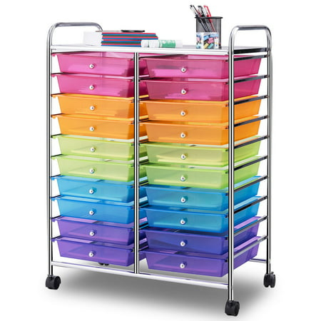 Gymax Office Rolling Cart 20 Storage Drawers Scrapbook Paper Studio Organizer Mutli Color