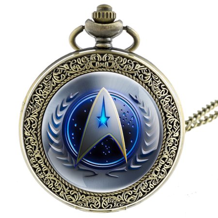 - Star Trek Pocket Watch Blue Face Copper Antique Anti-Tarnish Federation Symbol WP-ST-4