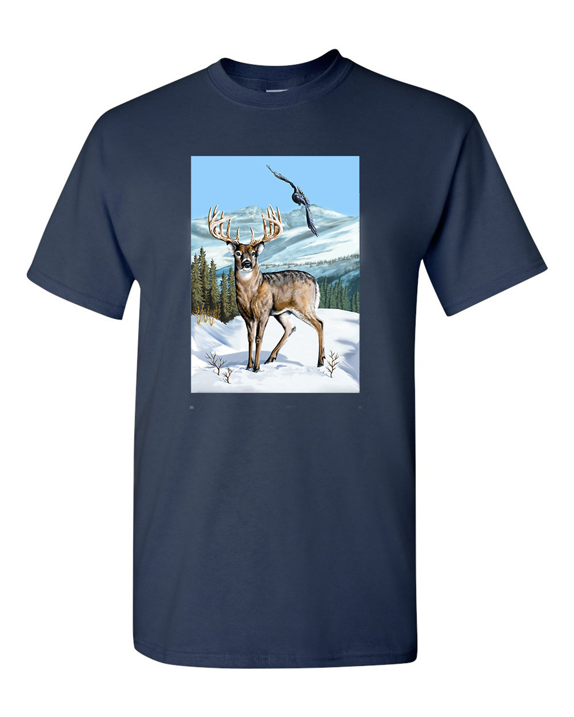 Deer Winter Scene Hawk Animal Tanya Ramsey Artworks Art DT Adult T-Shirt Tee