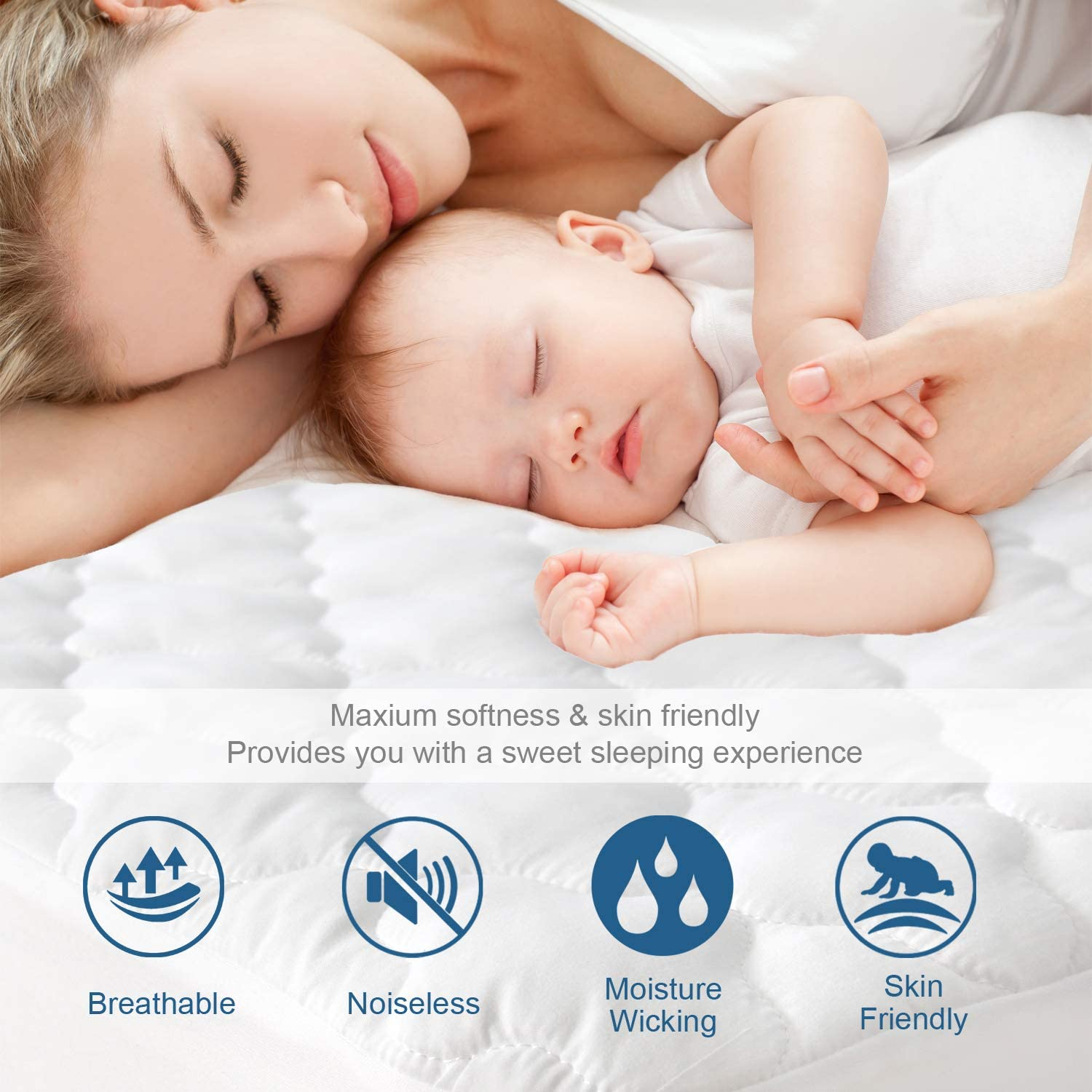 SPRINGSPIRIT Mattress Protector Twin Szie Stain Protection Deep Pocket Strethes up to 18 Depth Quilted Fitted Waterproof Twin Mattress Pad Cover with Ultra Soft /& Aborsbent Surface