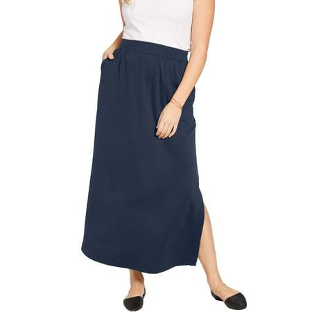 Woman Within Plus Size Petite Stretch Ponte Maxi Skirt